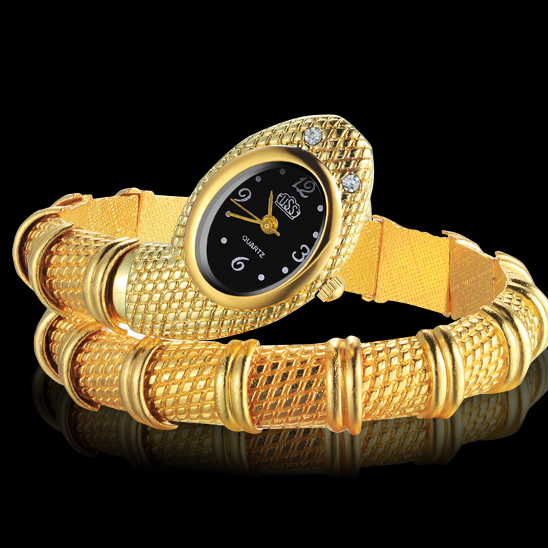 цены Fashion Snake Shaped Bracelet Wrist Watch Women Watches Gold Women's Watches Snake Watch Clock saat relogio feminino reloj mujer