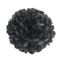 10 штук в лоте, черные цветные тканевые бумажные помпоны, акция для Хэллоуина, тематические подвесные украшения для вечеринки