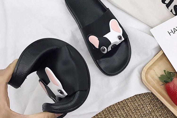 18 Fashion Animal Bulldog Slippers Summer Sandals Beach Flip Flops Skid Indoor Woman Shoes Women Slides zapatillas Mujer 8