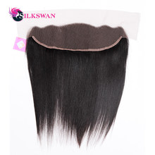 Slikswan Hair Brazilian Straight Lace Frontal Closure 13*4 Ear to Ear Closure 120% Destiny Nature Color Remy Hair Free Shipping(China)