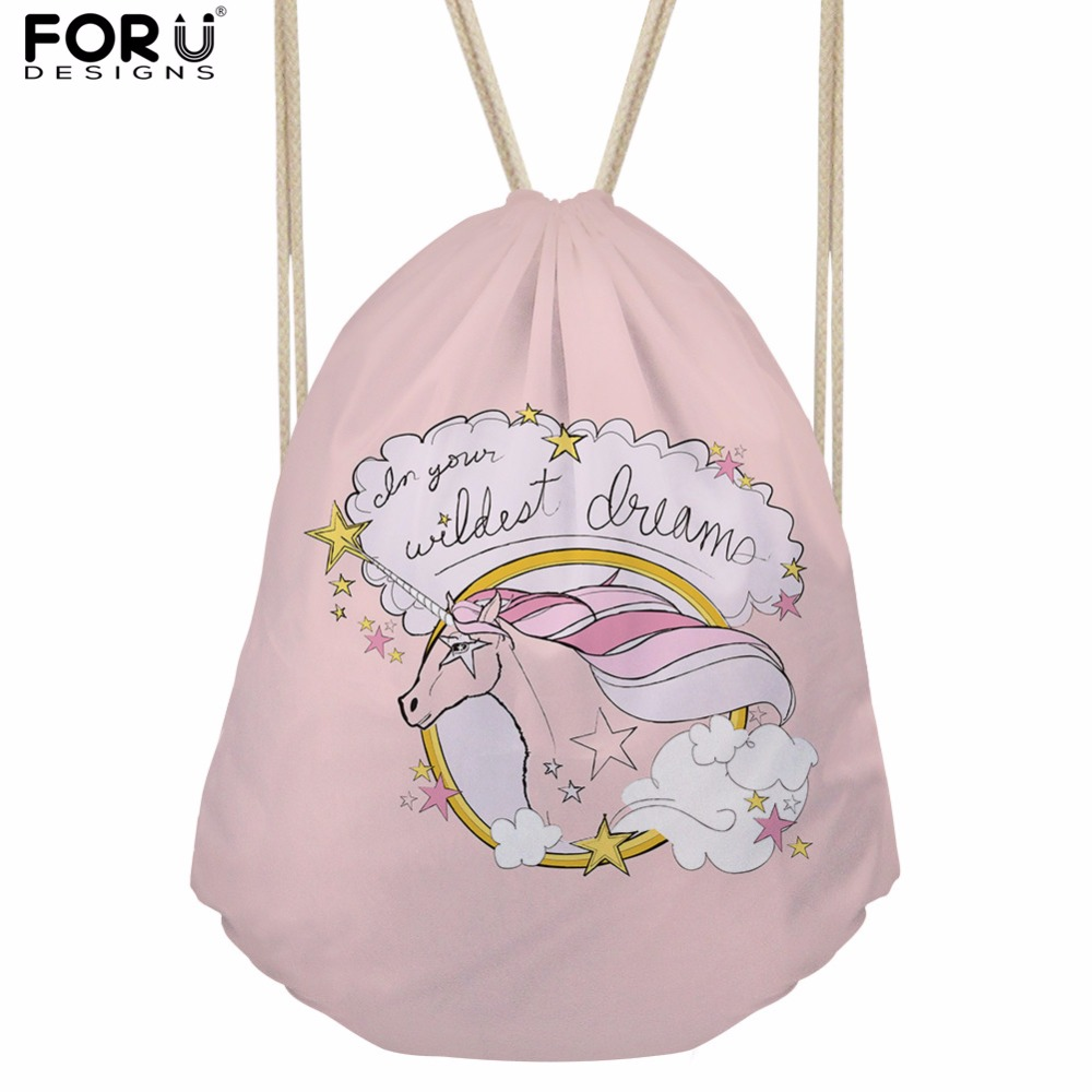 FORUDESIGNS Drawstring Bags for Women Backpack Cute Horse School Backpacks for Teenage Girls School Bags Female Bagpack Bolsa