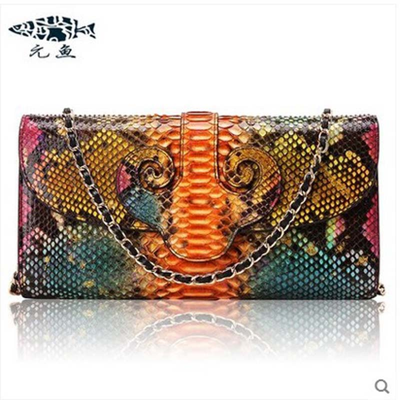 yuanyu 2018 new hot free shipping python skin women  handbag single shoulder bag inclined female bag serpentine women bag yuanyu real snake skin women bag new decorative pattern women chain bag fashion inclined single shoulder women bag