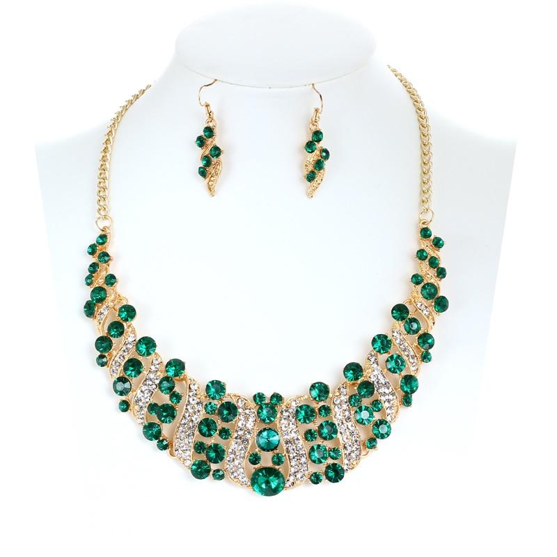 Green Rhinestone Crystal Short Choker Statement Necklace Earrings Engagement Gem Stone Jewelry Sets