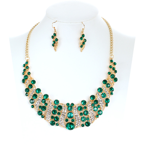 luxury green rhinestone crystal short choker statement necklace earrings engagement gem stone jewelry sets for women(China)