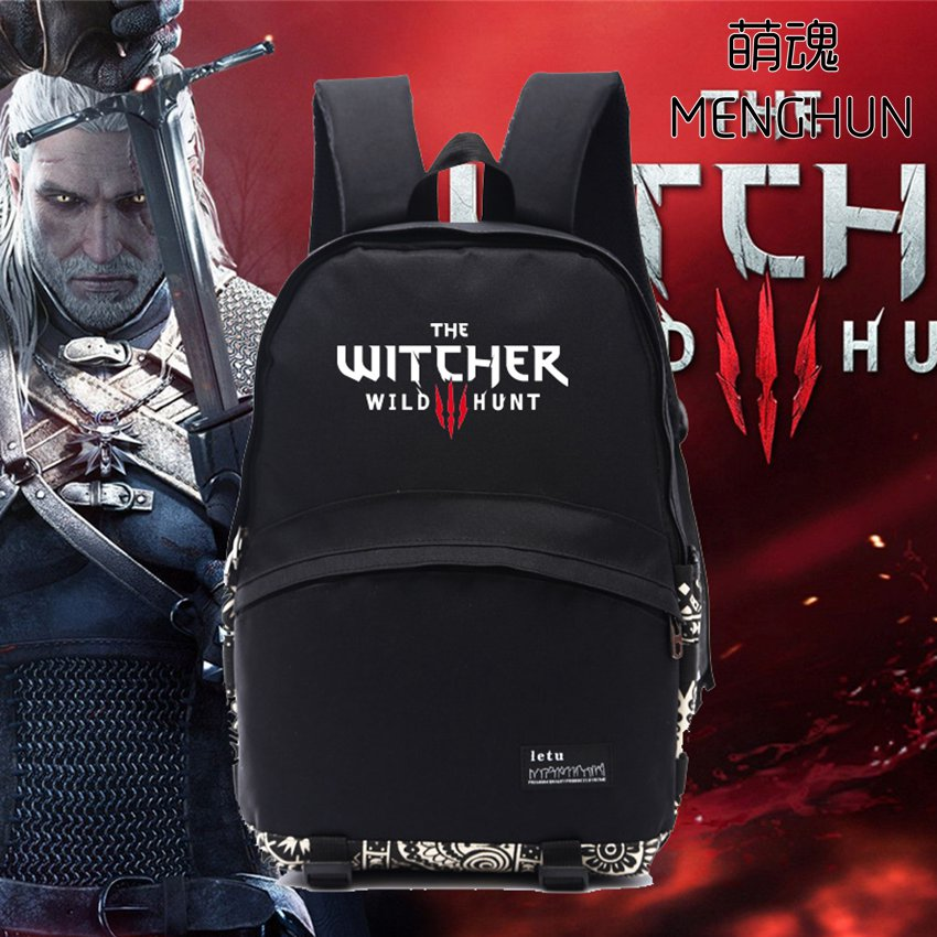 Cool nylon game backpack the witcher 3 wild hunt bag Game fans black backpack men's black backpack school bag for fans NB184 wild game cookery 3e rev