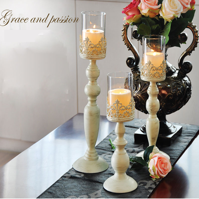 2017 New Metal Candle Holders Modern European Indoor Decorations Glass  Candlestick Wedding Decor Candle Stand For Decoration