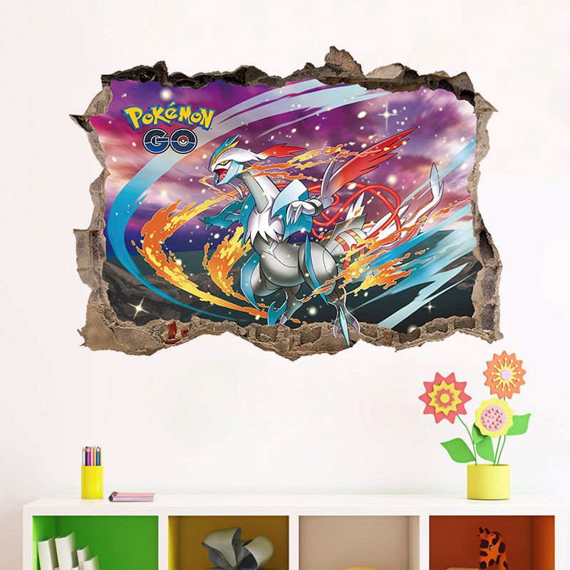 Cartoon Wall Stickers For Kids Rooms Pikachu Wall Decals Pokemon GO Mural  Broken Wall Nursery Room Poster Part 30