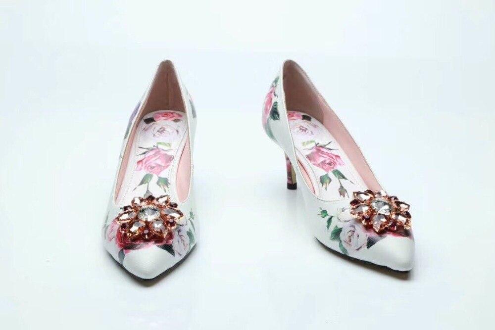 Cristal De Zapatos Impresión 2018 Bombas Puntiagudos Feminino Finos 5cm Cuero Mujer 6cm Altos Talones 9 Sapato HqXfwTx