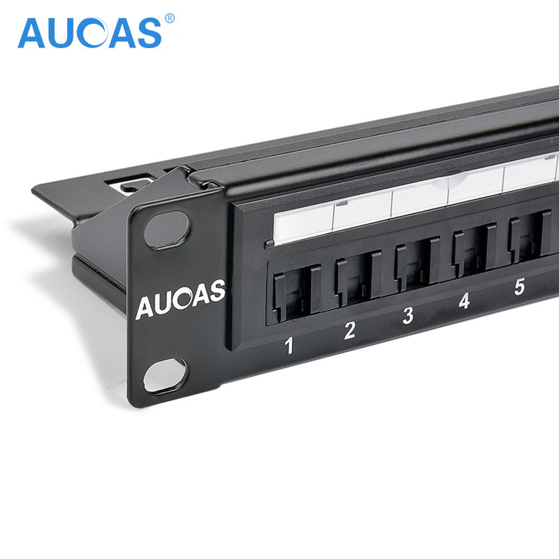 AUCAS Anti Dust CAT5E 24 Ports Patch Panel Frame med RJ45 Keyston Modul Jack Jack Plugg Adaptere