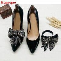 Горный хрусталь бабочка узел декор женские туфли лодочки на высоком каблуке бренд Дизайн стилет мелкая Sapato Feminino острый носок Свадебная веч