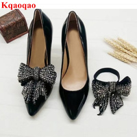 Rhinestone Butterfly Knot Decor High Heel Women Pumps Brand Design Stiletto Shallow Sapato Feminino Pointed Toe Wedding Party