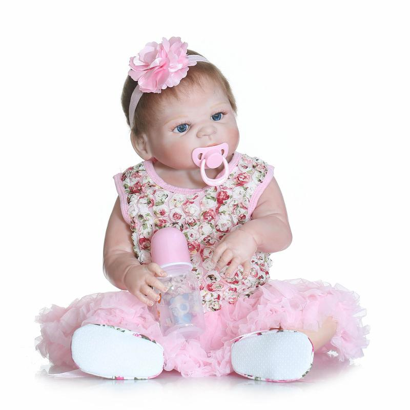 Fashion Doll 55cm Full Body Silicone Reborns Dolls 22Inch BeBe Reborn Real Newborn Reborn Babies Toys For Girls Gift 18 bebe gift doll reborn silicone reborn babies with cotton body dressed in nice sweater lifelike newborn babies girls toys