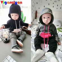 Little Kids Hit-color Knit Sweater Hoodies 100% Cotton Outerwear Spring Children Clothings Baby Boys/Girls Casual Sweatshirts