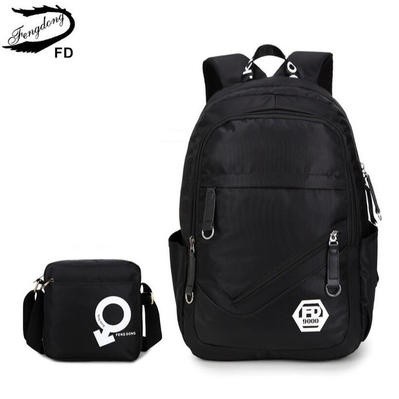 FengDong комплект из 2 предметов мужские дорожные сумки мужская сумка-рюкзак для ноутбука 15,6 дюймов школа для мальчиков рюкзак школьный мужской…
