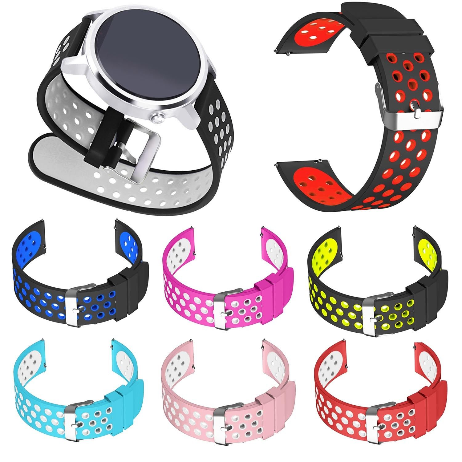 Dual Colors Silicone Strap for Huawei Watch 2 Sport Band 20mm / Huawei Watch 1st Gen Wristband 18mm Soft Bracelet w Metal Buckle eache silicone watch band strap replacement watch band can fit for swatch 17mm 19mm men women
