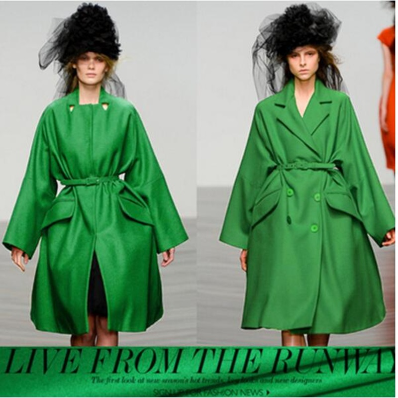 double Sided high thick cashmere fabric green wool coat fabric 780grams per metre 90%cashmere+10%wool