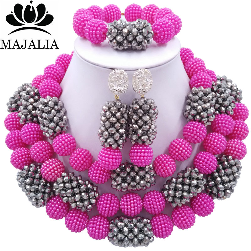 Majalia Classic Fashion Nigerian Wedding African Jewelery Set Hot Pink and Silver Crystal Necklace Bride Jewelry Sets 3SZ039