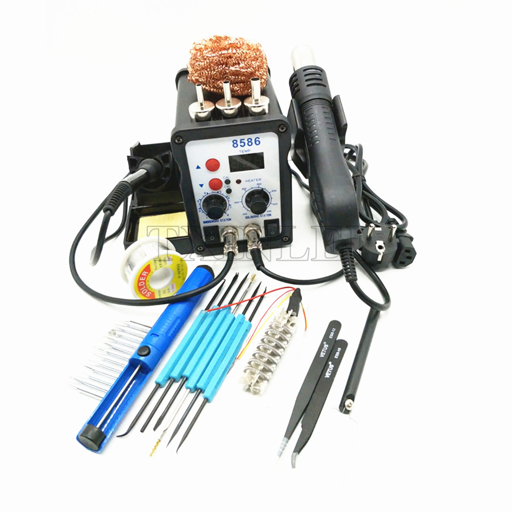700W Soldering Station 8586 2 in 1 SMD Rework Station Hot Air Gun Hair Dryer Electric