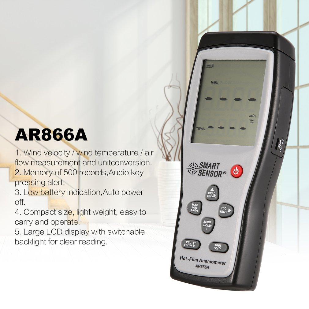 Новое поступление SMART SENSOR AR866 цифровой горячий фильм тепловой Анемометр воздуха/ветра скорость метр 0,3 ~ 30 м/с Anemometro измерительный инструмент
