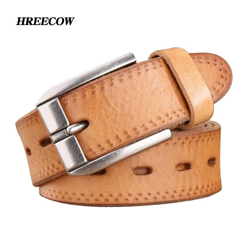 luxury designer male belt men high quality real cowhide full grain genuine leather belts camel cowboy 3.8 cm masculine soft