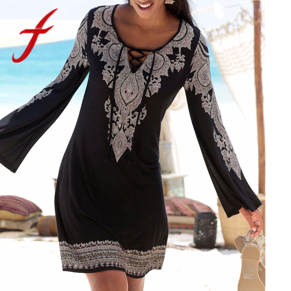 Feitong Vintage Women Dress Boho Sexy V Neck Halter Neck Print Long Sleeve Casual Bandage Mini Dress Sundress vestidos verano