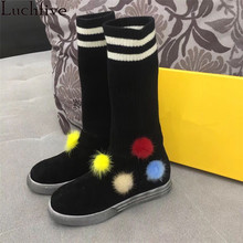 Luchfive Knitted Ankle Boots for women colorful pompoms platform flat heels warm Wool Stretch Short snow boots sock shoes