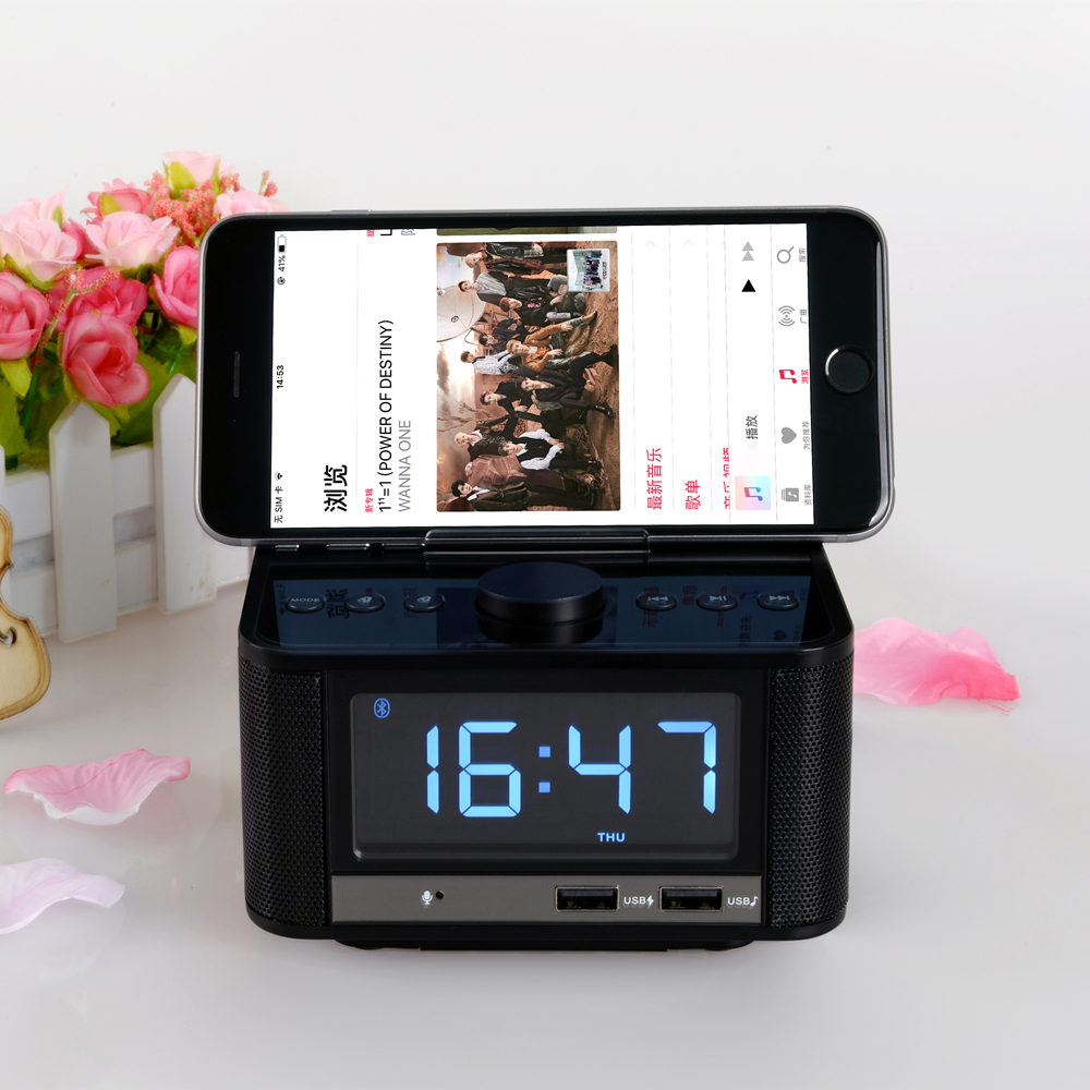 EXRIZU 10W Bluetooth 4.2 Smart Clock Speaker Support FM Digital Radio Hands free U Disk TF Card Music Play 3.5inch Screen Snooze - 6