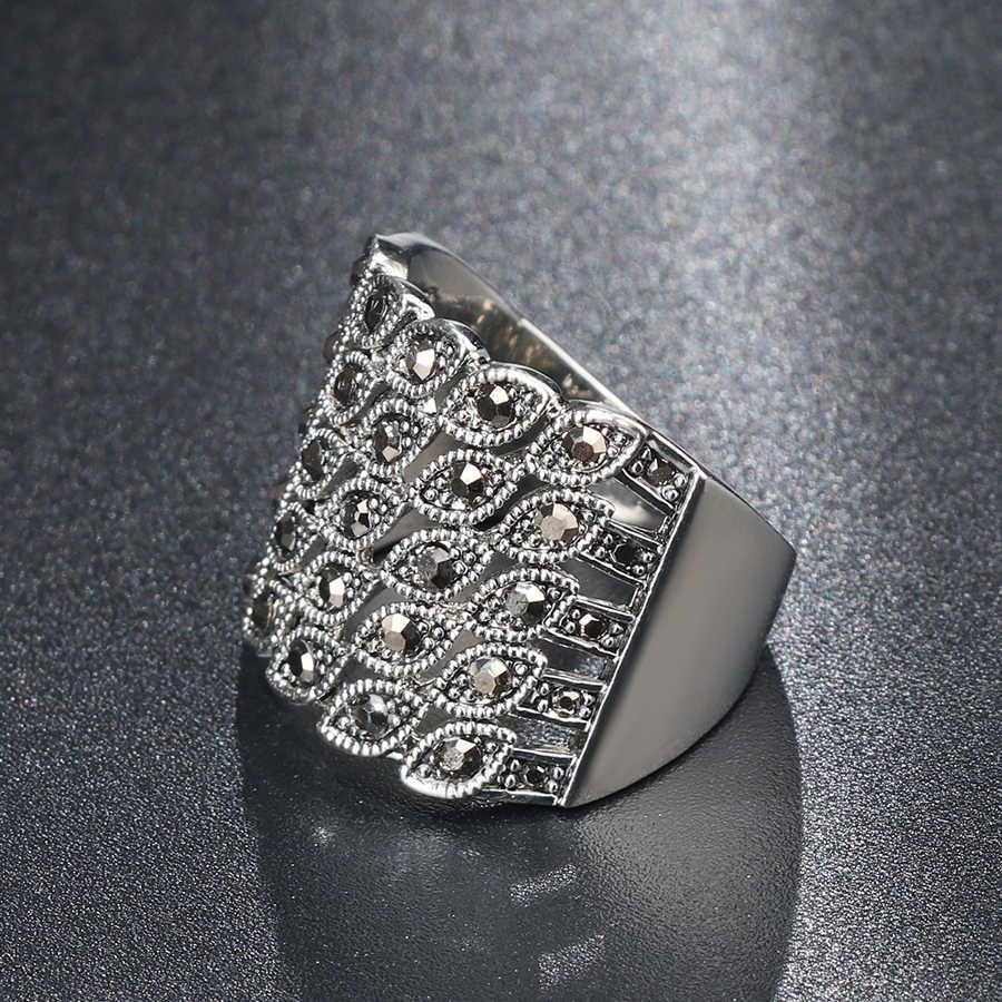 ヴィンテージ黒水晶の結婚式の女性のためのシルバー色リトル目リングファッションブルガリアジュエリー 2018 送料無料