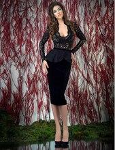 Heißer Verkauf Homecoming Kleider Knielangen Samt Schwarz V-ausschnitt Langarm Rückenausschnitt Mantel Cocktailkleider 2015 Schwarz