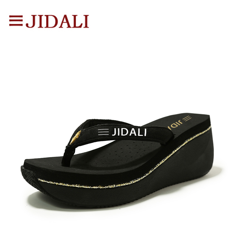 JIDALI Fashion Women Shoes Beach Flip Flops High EVA Bling Wedges Platform Outside Sport Sandals Summer Size 35-40