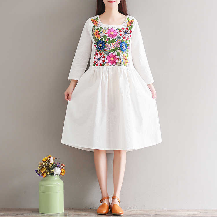 ba7e099df68 2019 Vintage Mexican Ethnic Floral Embroidery Boho Women Dress Loose Long  Sleeve Girl Midi Dresses Large