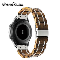 Nature Wood + Stainless Steel Watchband 22mm for Samsung Gear S3 Classic Frontier Gear 2 Neo Live Quick Release Band Watch Strap