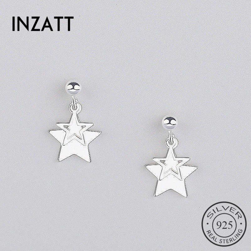 Inzatt Nyata 925 Sterling Silver Minimalis Berlubang Bintang Menjuntai Drop Anting-Anting Fashion Perhiasan Pendientes Mujer Moda Trendi Hadiah