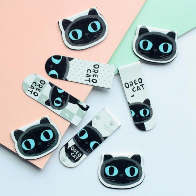 2 pcs/pack Black Cat Magnet Bookmark Paper Clip