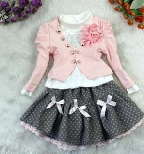 EMS /DHL (2colors) NEW! Kids Wear Jacket + T-shirt Skirt Girl Clothing 3pc dress set kid