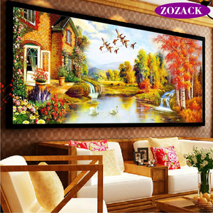 Image 1 - DIY DMC Cross Stitch,Sets for Embroidery Kits,Gold Landscape painting European Garden Pattern Accurate printing Cross Stitching