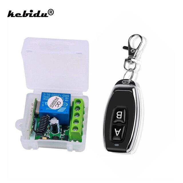 Kebidu 433 MHz AC 12V bezprzewodowy 1CH nadajnik RF pilot przełącznik + przekaźnik odbiorczy RF dla światła pilot do drzwi garażowych
