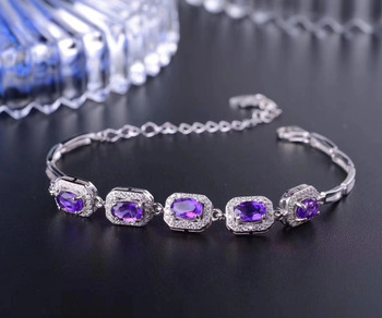 Natural amethyst Bracelet Natural Purple crystal Bracelet 925 silver bracelet Elegant simple square women party gift Jewelery