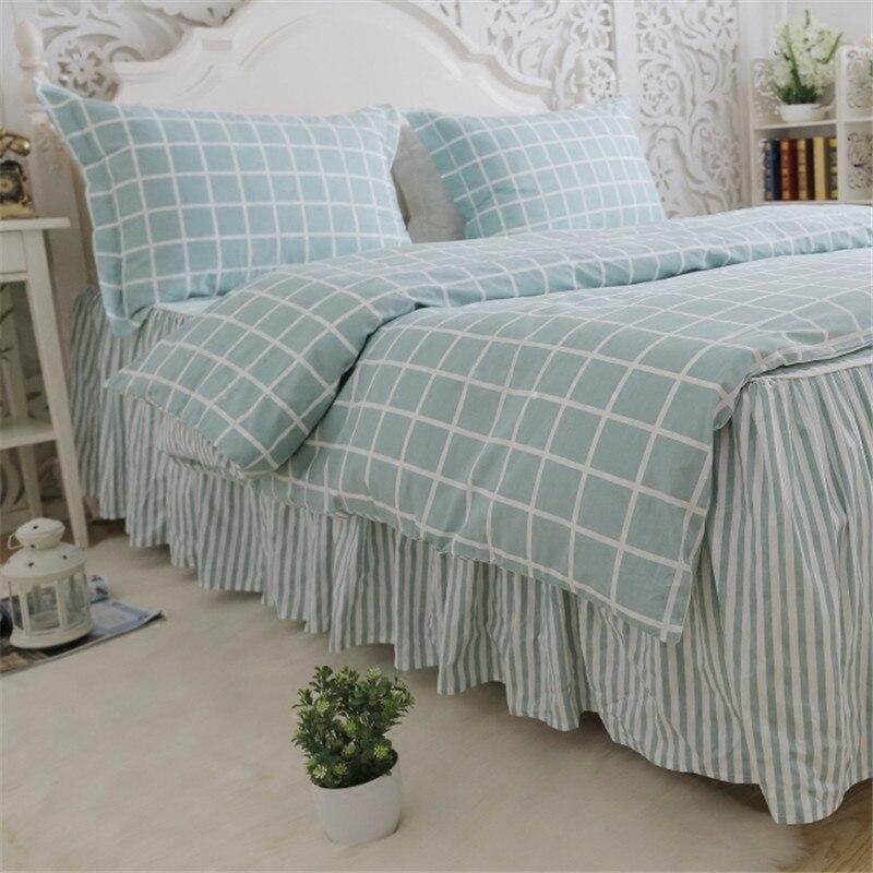 Plaid classico set di biancheria da letto luce bel plaid copripiumino casa letto tessile lenzuolo della banda della principessa gonna letto copriletto lino - 2