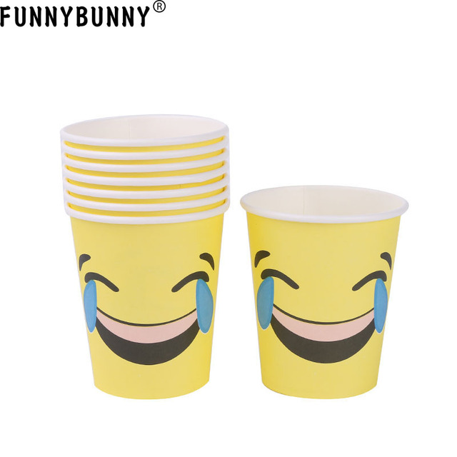 US $2 99 40% OFF|FUNNYBUNNY Emoji Party Disposable Paper Cups Party  Supplies-in Disposable Party Tableware from Home & Garden on Aliexpress com  |