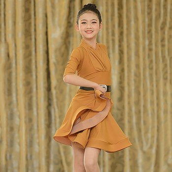 Fashion Latin Dance Dress For Girls Mid Sleeve Cha Cha Salsa Samba Tango Practice Performance Dance Wear Kids Dresses DC2072