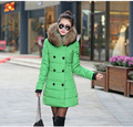 Free shipping 2016 New Women M to 3XL Solid Slim Black Red  Green 5 color 4 size Down with Fur Collar Hat