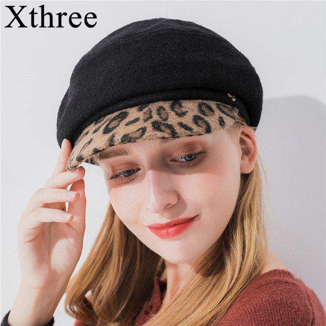 Xthree women s wool octagonal cap winter hat with Leopard Print visor  fashion newsboys hat girl autumn 64020066e54