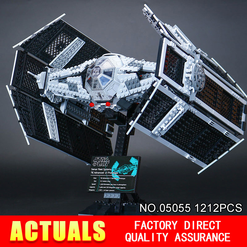 LEPIN 05055 1212Pcs Toy Vader TIE advanced fighter aircraft Model Building Kit Blocks Bricks Compatible Children 10175 lepin 05055 1212pcs star wars vader tie advanced fighter building block toys figure gift for children compatible legoe 10175