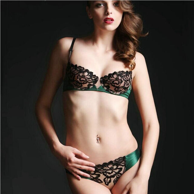 Ultra-thin transparent Lace Embroidery Push Up Bra Panty
