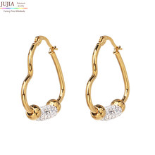 JUJIA 2018 Stainless Steel Drop Earring Heart Shape gold color plated for woman Sold By Pair Fashion Daily Party Earrings(China)