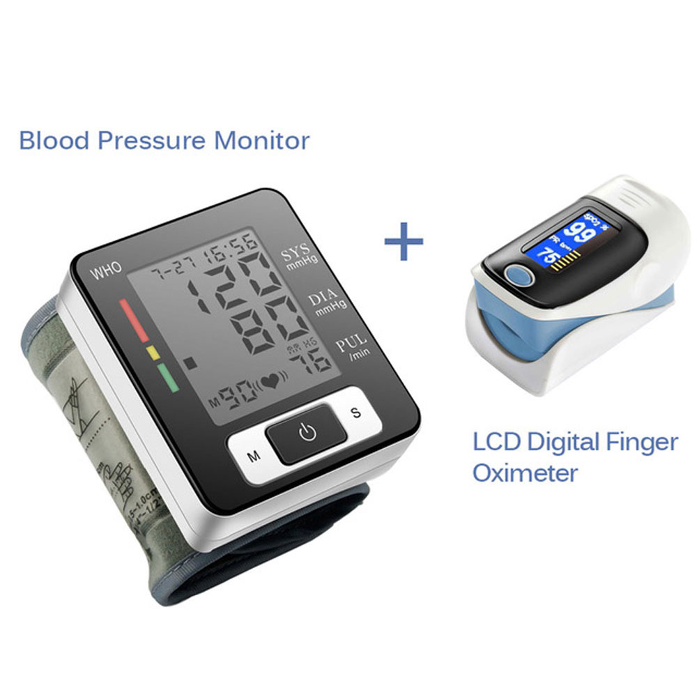 Digital Wrist Blood Pressure Monitor Portable Automatic Sphygmomanometer Blood Pressure Meter And LCD Digital Finger Oximeter portable lcd digital manometer pressure gauge ht 1895 psi air pressure meter protective bag manometro pressure meter