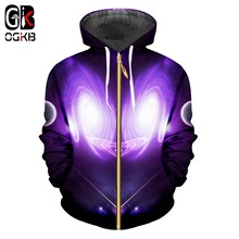 OGKB New 3D Galaxy Space Printed Zip Up Hooded Hoodies Purple Men/women Tops Hoodie Sweatshirts Fashion Jackets Plus Size 6XL(China)