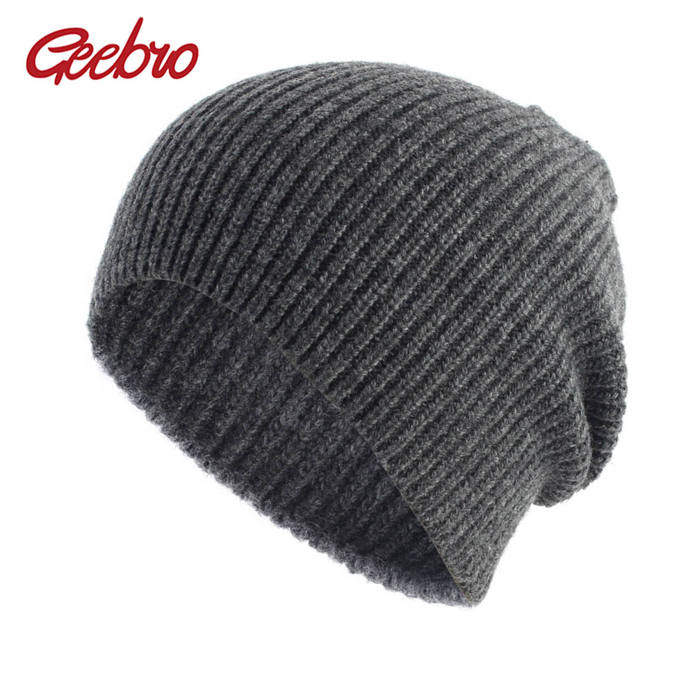 8e2290604f2 Geebro Women s Cashmere Beanie Casual Winter Crochet Slouchy Beanies for Women  Female Knitted Solid Skullies Hat
