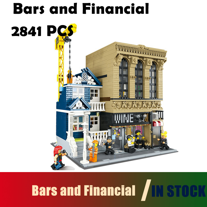 The Bars and Financial Companies building blocks bricks toys for children Compatible with Lego Creative MOC 15035 2841pcs compatible with lego technic creative lepin 24011 1344pcs 3 in 1 highway transport building blocks 6753 bricks toys for children